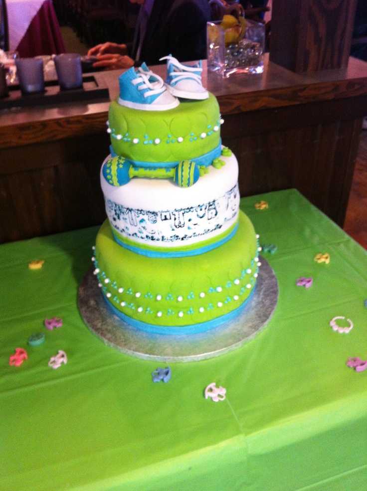 Lime Green Baby Shower Cake