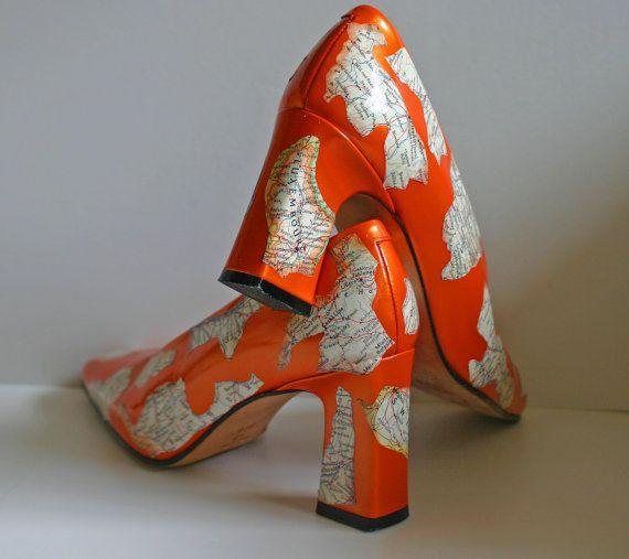 Decoupaged Vintage Map Shoes