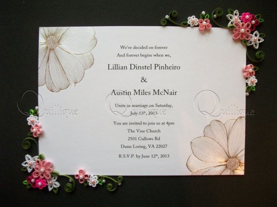 Custom Wedding Gift Framed Quilled Invitation