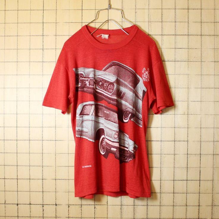 古着 レッド プリント Tシャツ 半袖 60s FORD THUNDERBIRD フォード サンダーバード メンズS相当 レディースML相当 D.G.SPORTSWEAR アメリカ古着