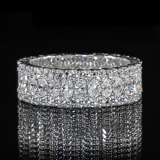 Marquise and Round Diamond Eternity Band #wedding #engagement #ring