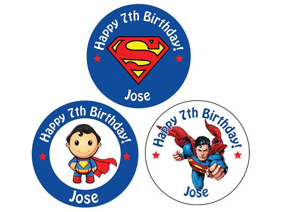 Set of Personalized Birthday Party Girl Boy superman Stickers for Hershey kiss stickers goody bag lollipop candy decal