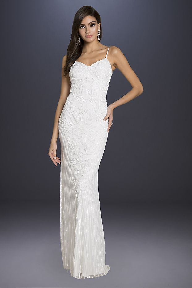 ffad0d35ea Lara Brooke Beaded Spaghetti Strap Sheath Gown Style 51005, Ivory, 0 ...