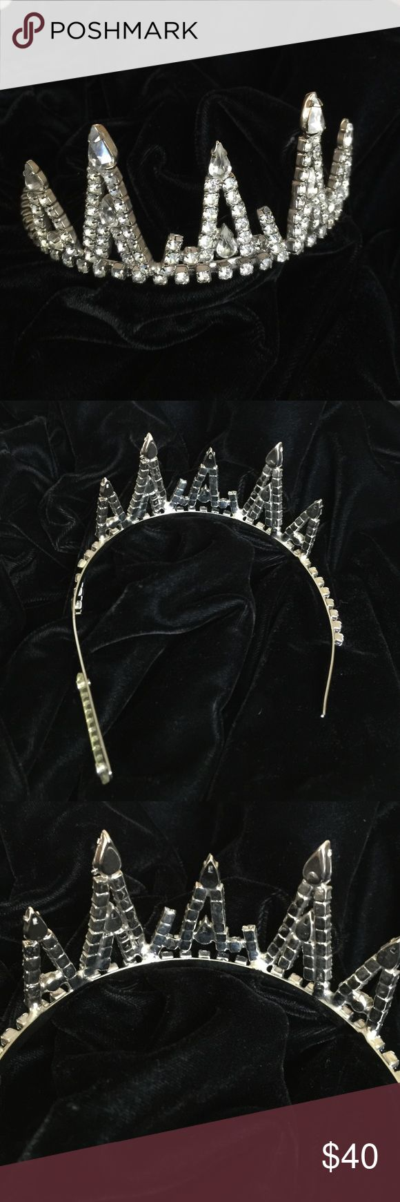 Vintage rhinestone tiara The prom queen's tiara from the mid-sixties!!! This vintage gem is WOW. All crystals and rhinestones are shiny and clear.  One of the leg extensions has been lost over the years, and the string of rhinestones on one side needs to be glued. The original owner just didn't have the heart to give this away. Found at her estate sale. Sold as is. (HESIOD) Vintage Accessories Hair Accessories