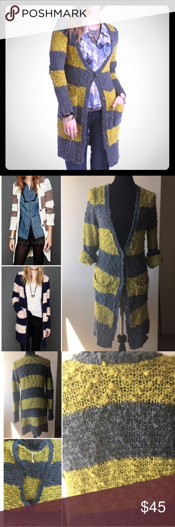 "Free People Rugby Stripe Lon Cardigan Nubby knit striped long cardigan with two front pockets. ""V""-neckline in front. Snap button closure. Super soft and comfy! Great condition!  65% Acrylic, 24% Wool, 5% Nylon, 1% Spandex Machine Wash Cold Size Medium. /gray/yellow-green color Free People Sweaters Cardigans"