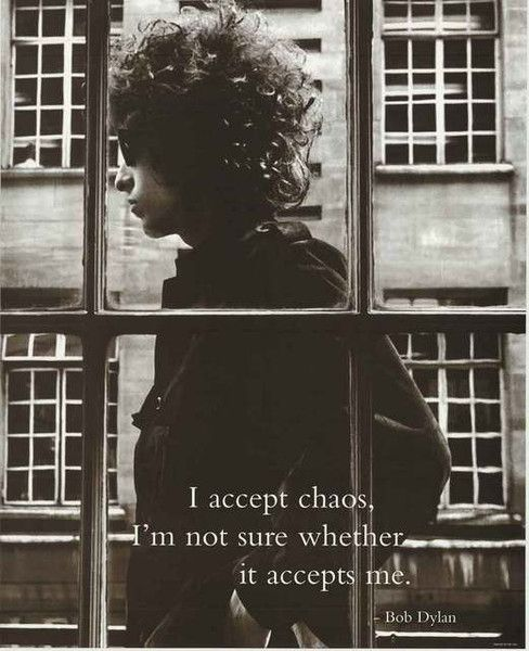 """An awesome poster of a Blonde on Blonde-era Bob Dylan with the quote: """"I accept chaos, I'm not sure whether it accepts me."""" So true! Ships fast. 16x20 inches. The answer my friend can be found among o"""