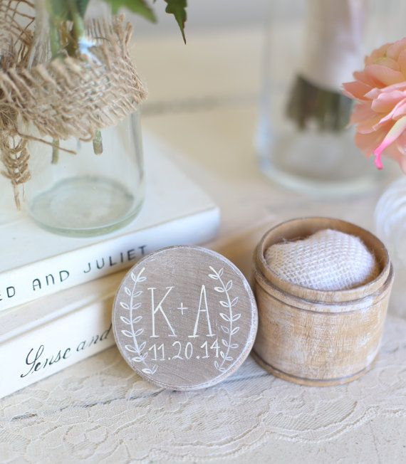 Shabby Chic Pillow Boxes : Personalized Rustic Ring Bearer Pillow Box Shabby Chic Wedding Decor Custom by Morgann Hill ...