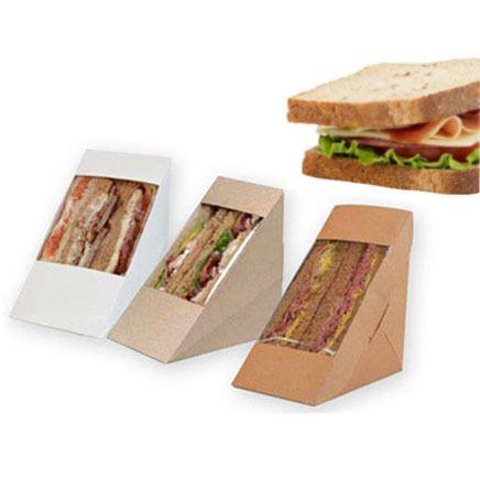 Kraft paper tray of sandwiches food takeaway box 30pcs Window