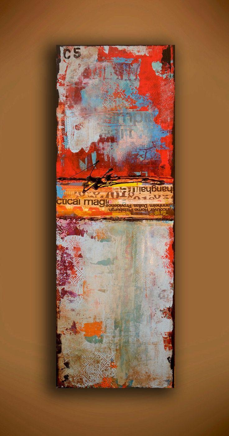 art mixed media on wood | Painting ABSTRACT ART mixed media on wood by erinashleyart on ... | A ...