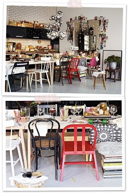 Definitely my style for the cafe. Mismatched chairs. A bit of clutter and vintage bits and bobs