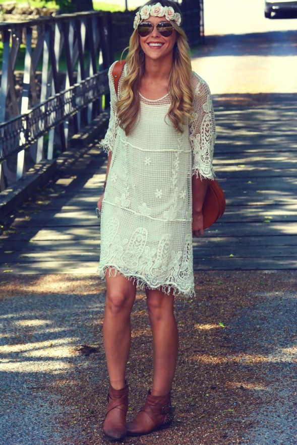 vintage white lace dress and ankle boots