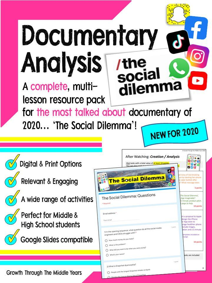 The Social Dilemma Documentary Study Student Encouragement English Teaching Resources Teaching