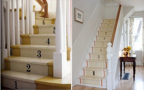 Number Painted Staircase - not for those with OCD