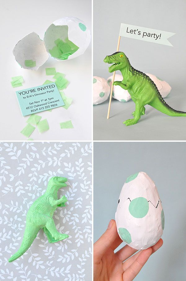 Just the dino with the flag! Click here to learn how to make Dinosaur egg party Invitations!