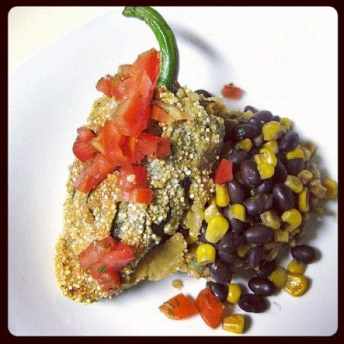 quinoa batter, black beans with roasted corn and topped with pico de ...