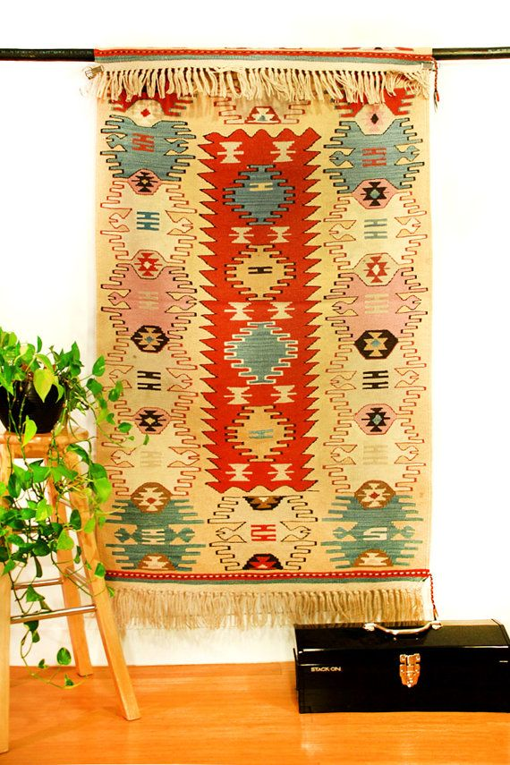 "Turkish Handwoven Kilim Rug, Aydin Yoruk, Hands on the Hips Pattern, Decorative Carpet, 5'9"" x 2'9"""