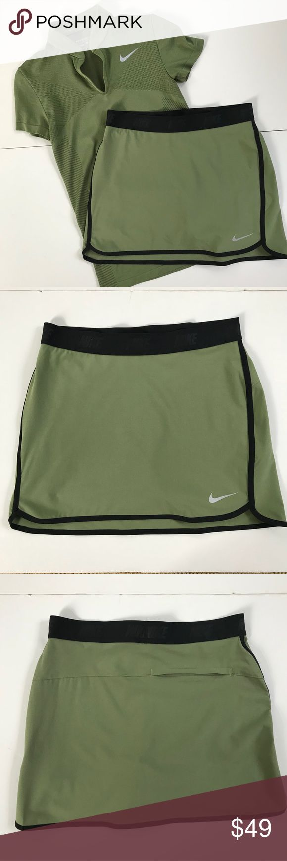 "Nike Women's Fringe Flip Golf Skort Palm Green XS Combining 4-way stretch woven fabric, Dri-FIT technology and an elastic waistband, the Fringe Flip Skort delivers moisture-wicking comfort with improved mobility and fit.  FEATURES: 4-way stretch Pull-on design Elastic waistband  One back welt pocket Attached inner knit short Hem vents  Drop-tail hem  Dri-FIT fabric Outseam: 14.5"". 85% Polyester / 15% Spandex Style: 831307 - current style in stores…"