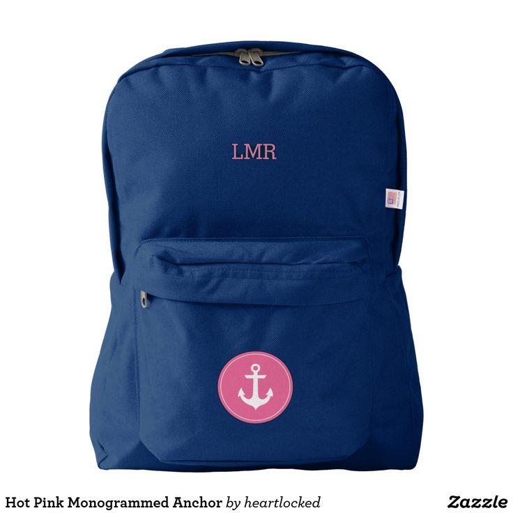 Hot Pink Monogrammed Anchor Backpack
