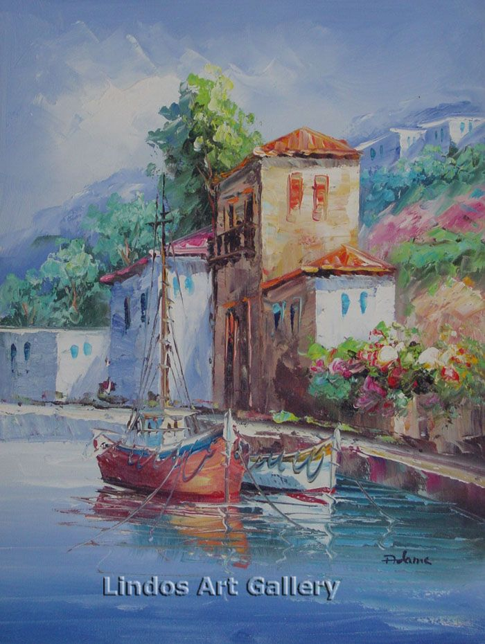 Houses and Boats by the Sea Painting