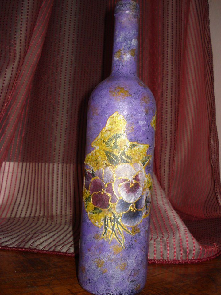 Purple bottle with yellow and purple flowers!!!