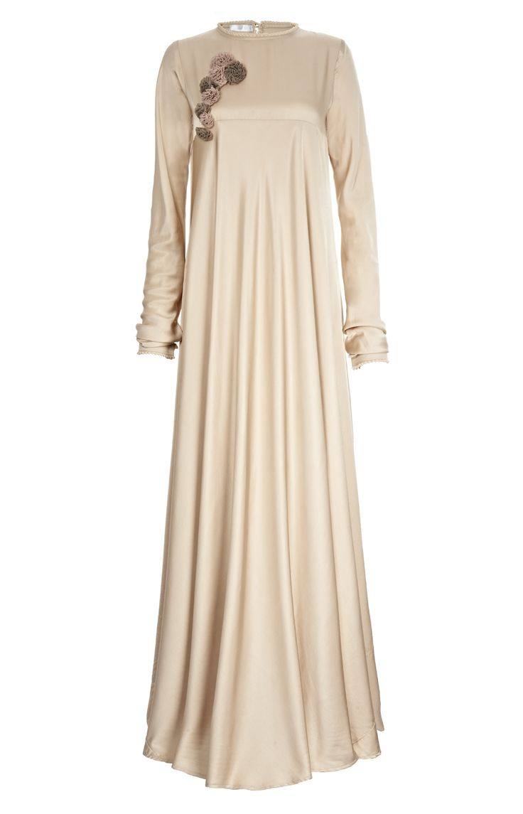 Aab UK Crochet Flare - Golden Ivory Abaya : Standard view