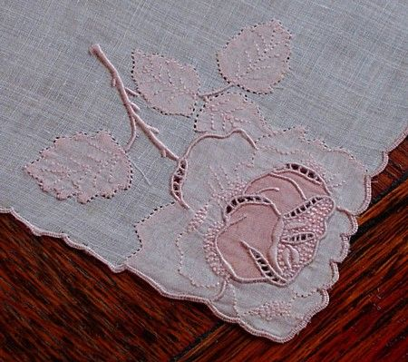 Em's Heart Antique Linens -Vintage Madeira Embroidered Linen Handkerchief