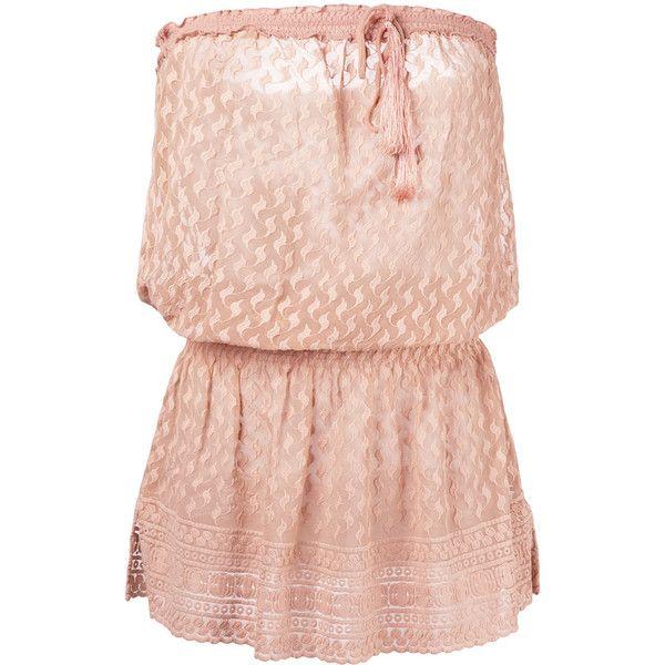 Melissa Odabash Adela beach dress ($295) ❤ liked on Polyvore featuring dresses, brown, melissa odabash, beach dresses, pink dress and nude dress