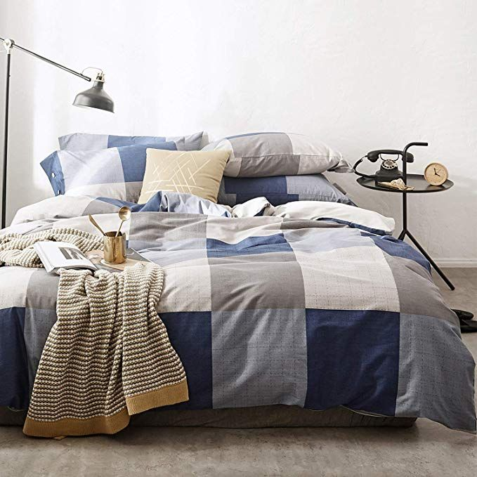 Oreise Duvet Cover Set Full Queen Size 100 Cotton Bedding Set Gray Tan Blue Printed Grid Style 3piece Bedding Sets Grey Duvet Cover Sets Cotton Bedding Sets