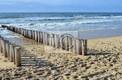 Fototapete Strand, Holland, Meer - breakwaters on the beach at the north sea in domburg holland ✓ Breite Materialauswahl ✓ 100% Öko-Druck ✓ Sieh die Meinungen unserer Kunden!