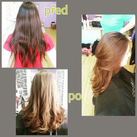 no colour..just hair cut and hairrepair process.Just a good hair cut, do the half job it self...