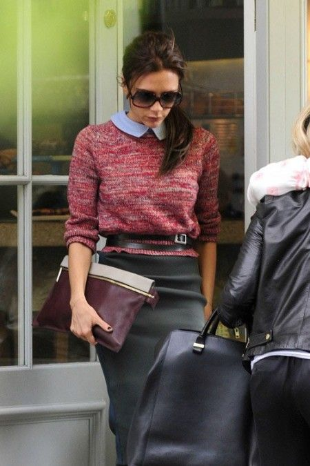 :: carven ::: Sweaters, Fashion Style, Peter Pan Collars, Victoriabeckham, Outfit, Victoria Beckham, Fall Looks, Pencil Skirts, Belts