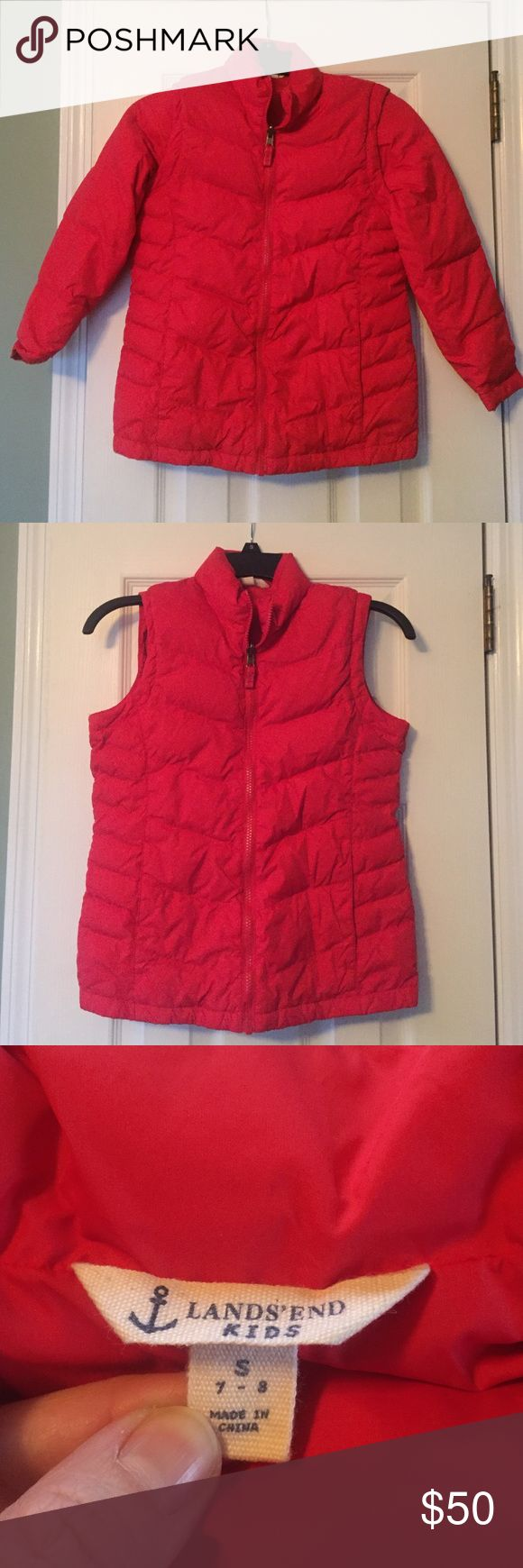 NWOT Lands End Kids jacket Brand-new never worn without tags kids lands and red down jacket sleeves can be removed to wear as a vest. Has two front pockets. Lands' End Jackets & Coats Puffers