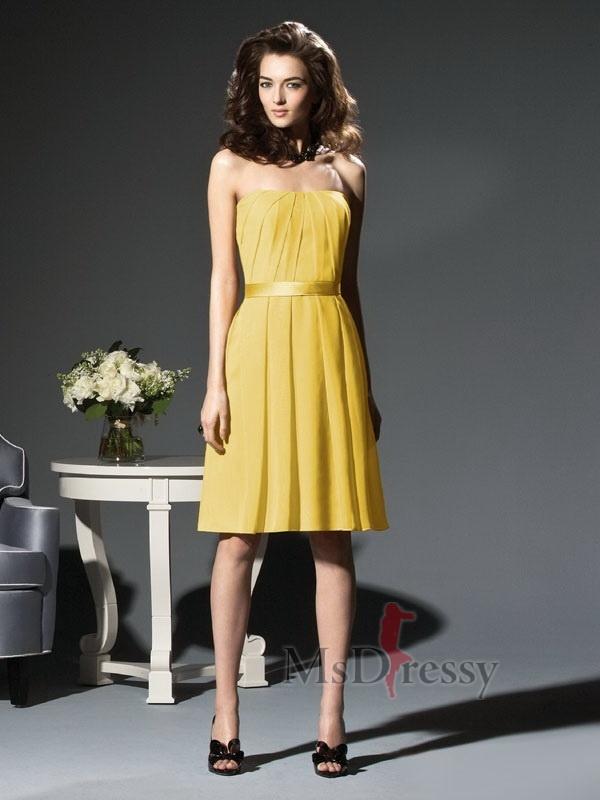 Strapless Taffeta Bridesmaid Dress With Pleated