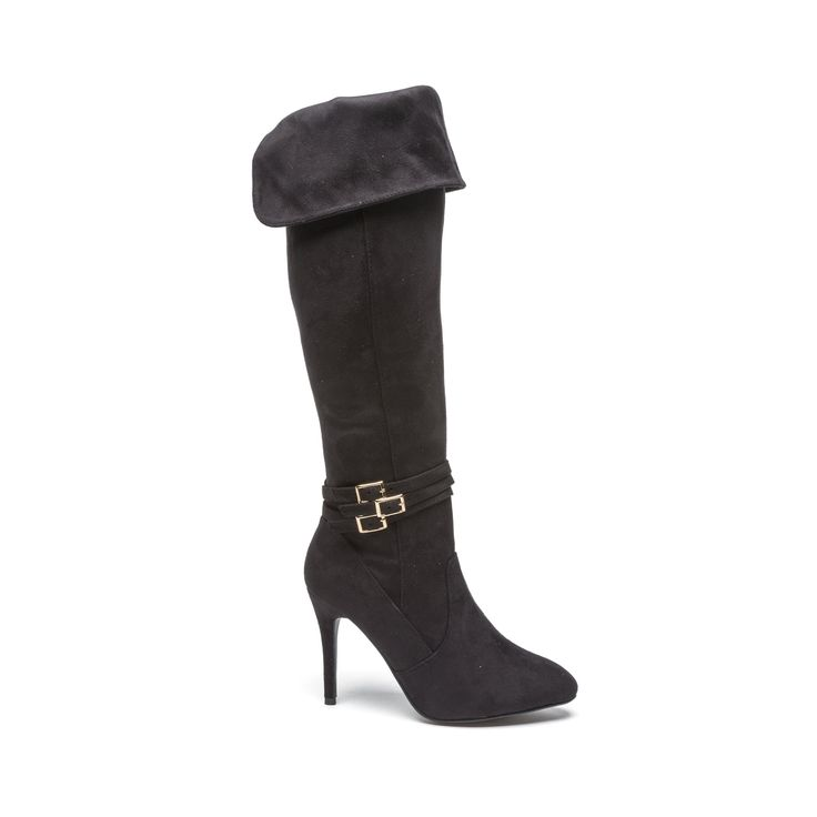 Fearless and bold the Kortney heel from Dolcis makes an impressive statement. Knee-high in beautiful suede with gold detailing and a tall elegant stiletto they'll be a stylish versatile look with a little black dress or over a pair of jeans.