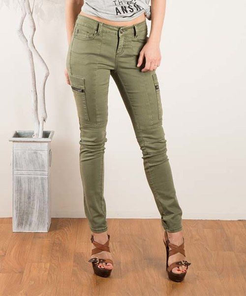 Look at this Fashionomics Olive Skinny Cargo Pants on #zulily today!