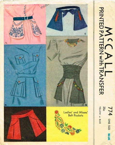 McCall 774: Ladies' and misses' belt pockets