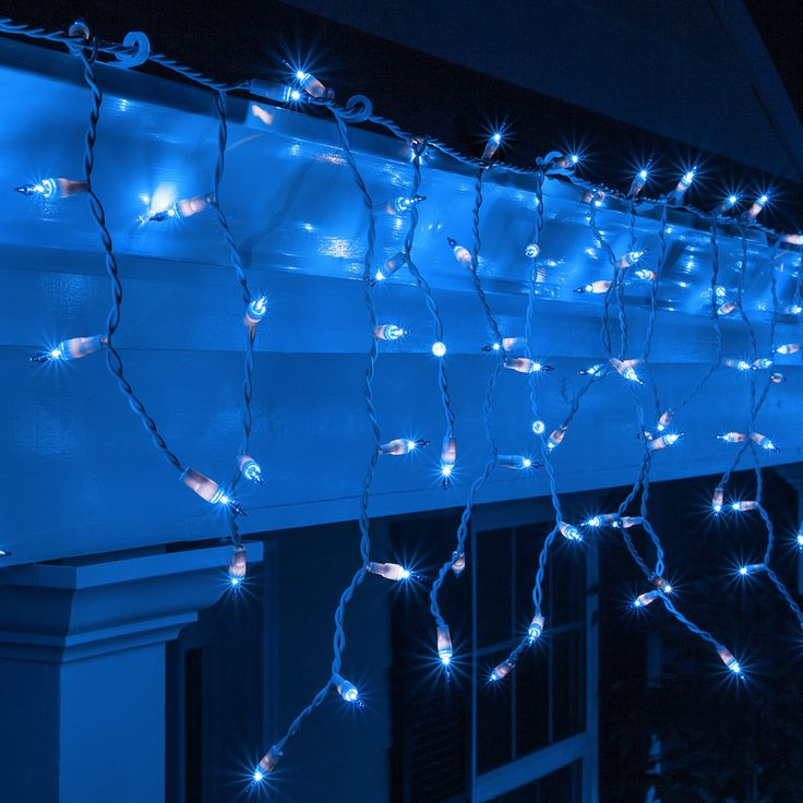 100 Blue Mini Icicle Light Set, White Wire