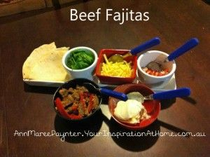 Beef fajitas.    Many recipes from inspirations @home