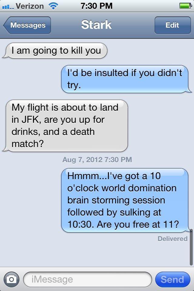 LOKI & Tony Stark convo. Lol! Twitter / godofbadassery: A typical conversation with ...