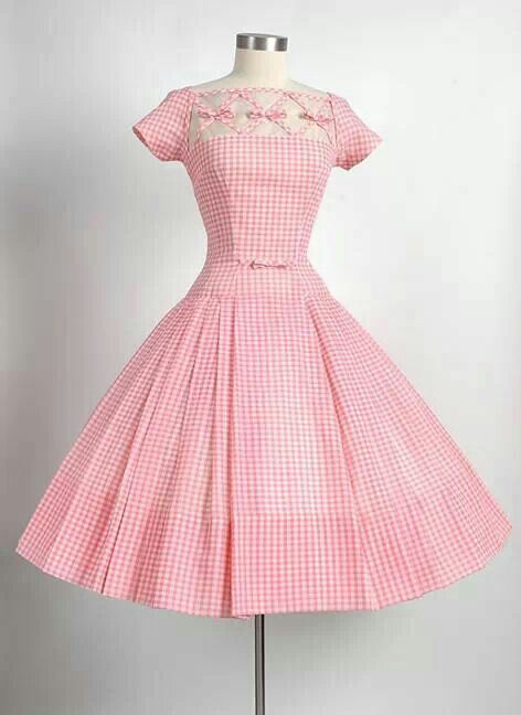 Pink gingham 50's dress