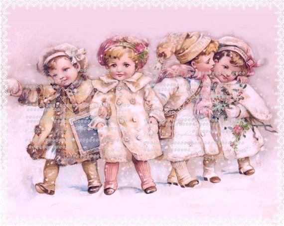 Roze kerst Wonderland sneeuw kinderen en rozen grote digitale