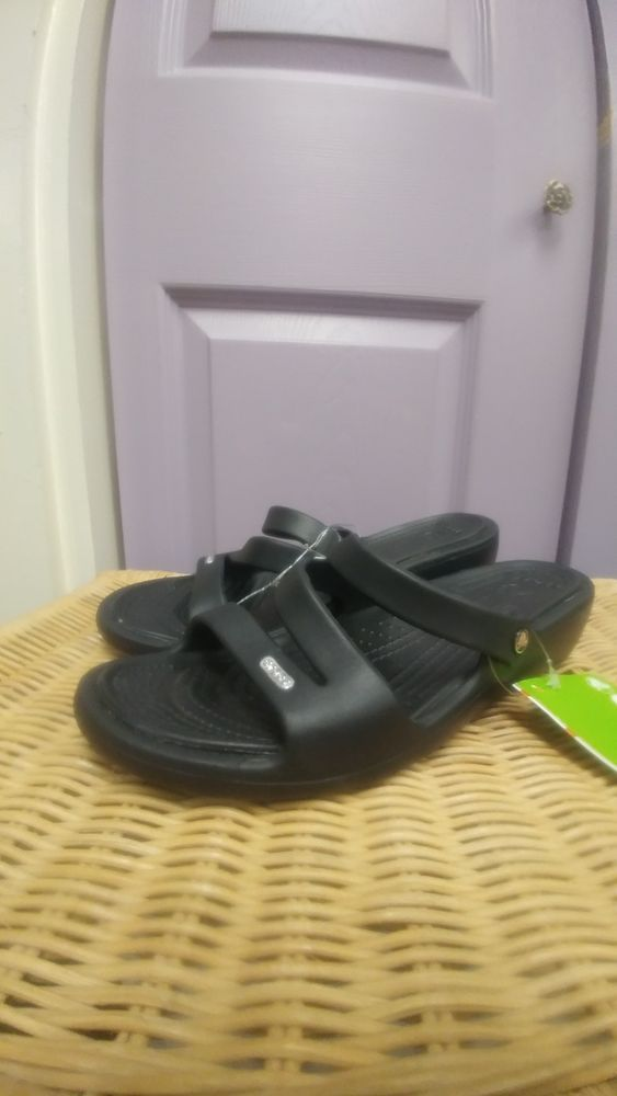 876dc4cdc Crocs Patricia Women s Black Relaxed Fit Wedge Sandals NWT 10386-060 SIZE  11  fashion  clothing  shoes  accessories  womensshoes  sandals (ebay link)