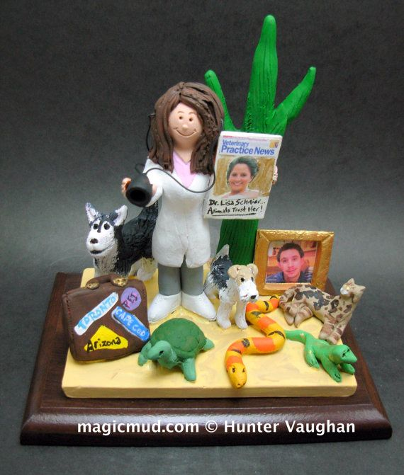 Female Vet's Figurine  www.magicmud.com    1 800 231 9814    magicmud@magicmud.com $225  Personalized #Medical Gift Figurines, custom created just for you!    Perfect present for all #Doctors, a  heartfelt gift for birthdays, graduations, anniversaries, new office openings, retirement, as a thank you to a great #physician  Surgeon, cardiologist, therapist, nurse, ob-gyno, podiatrist, psychiatrist, nephrologist, urologist, radiologist, any occupation made to to order by #magicmud