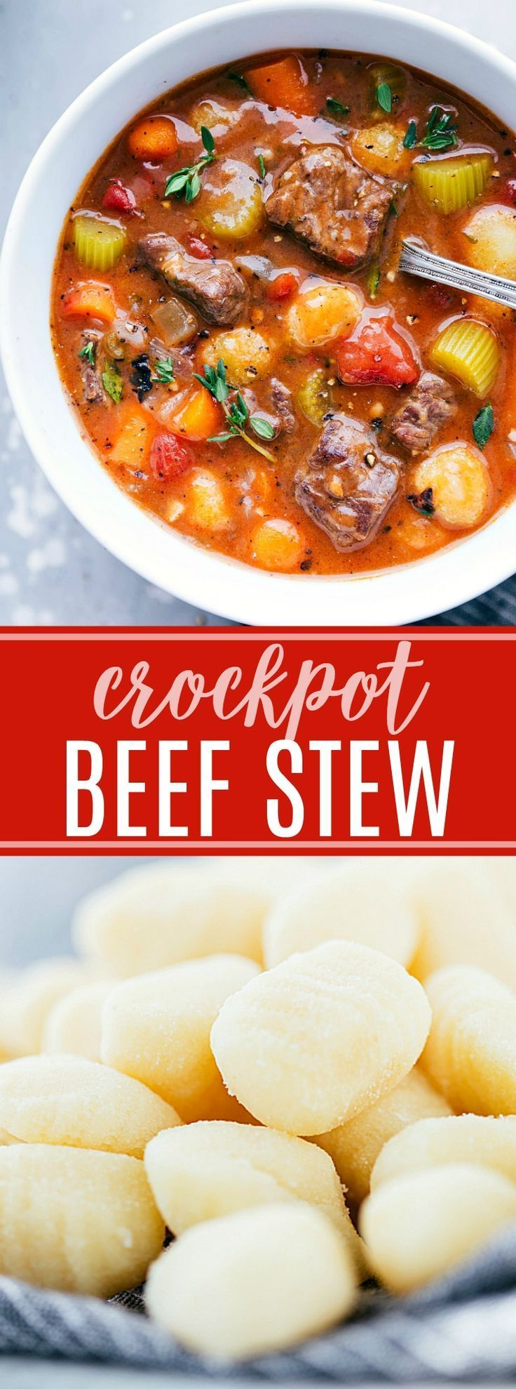 The ultimate BEST EVER crockpot beef stew with gnocchi! Recipe via chelseasmessyapron.com | #beef #stew #crockpot #slowcooker #gnocchi #best #dinner #soup #easy #delicious #familyfriendly #carrots #celery