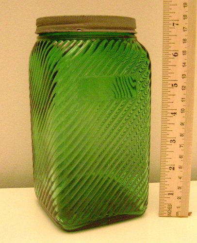 Depression glass hoosier green ribbed cookie glass jar. By Anchor Hocking.