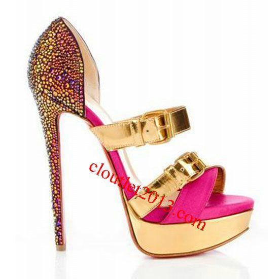 Christian Louboutin Ambertina Bejeweled 140mm Gold Fuchsia Sanda [Christian  Louboutin Outlet 1972] - $122.66. Christian Louboutin OutletShoes On SaleCanada  ...