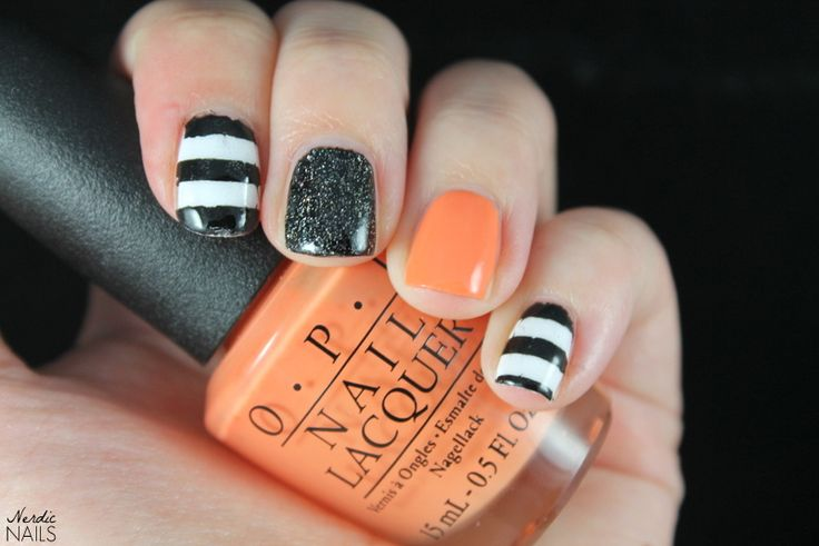 Nerdic Nails. Orange stripes skittlette.