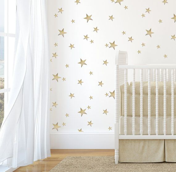 Gold Nursery Baby's Room Decorative Stars by WhimsicalWallsArt, $90.00