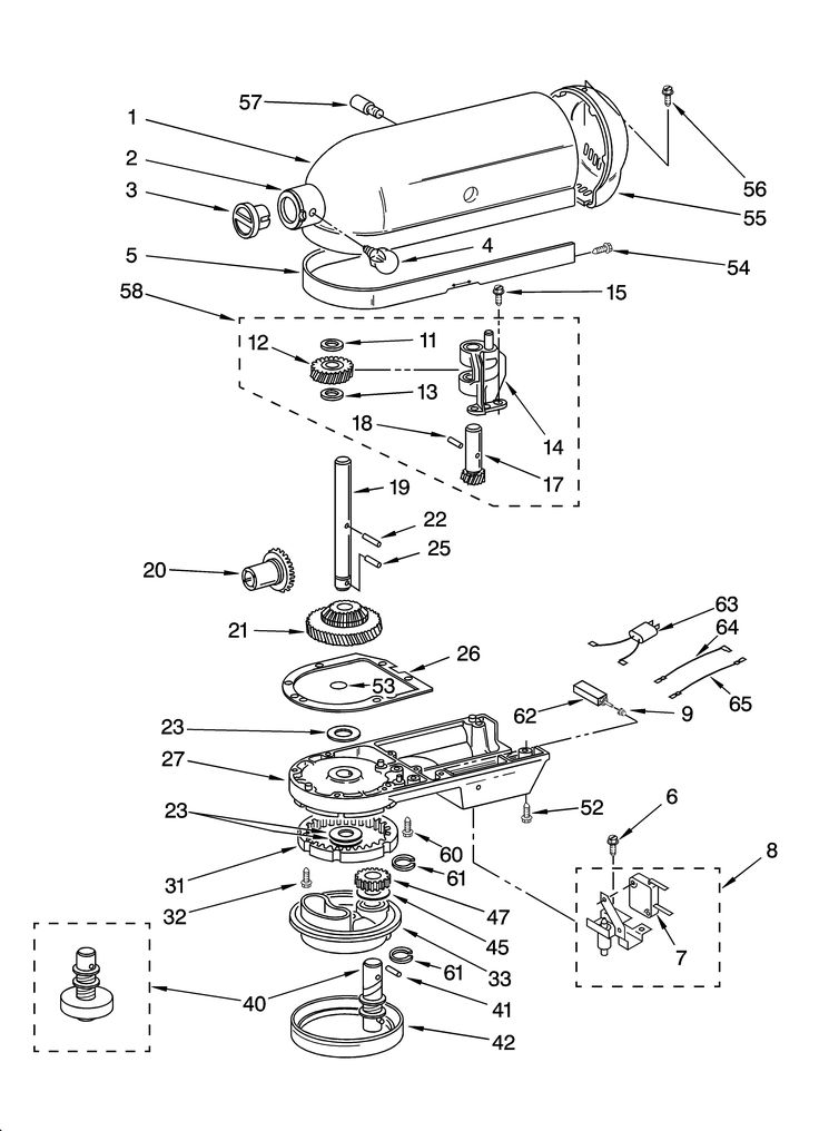 Case  Gearing And Planetary Unit Diagram  U0026 Parts List For Model K5ss Kitchenaid