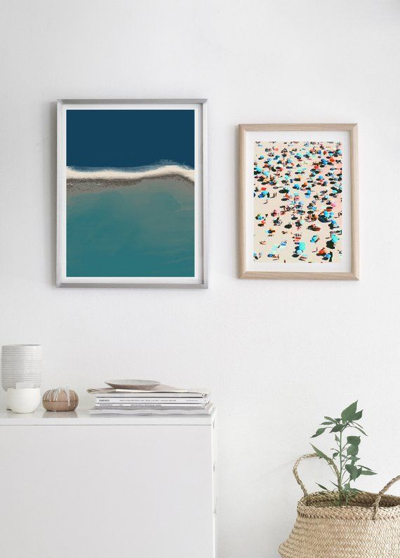 Vintage Beach Art Print People On Prints Retro Wall Summer Pop Pastel Colors Photo Photos Themed
